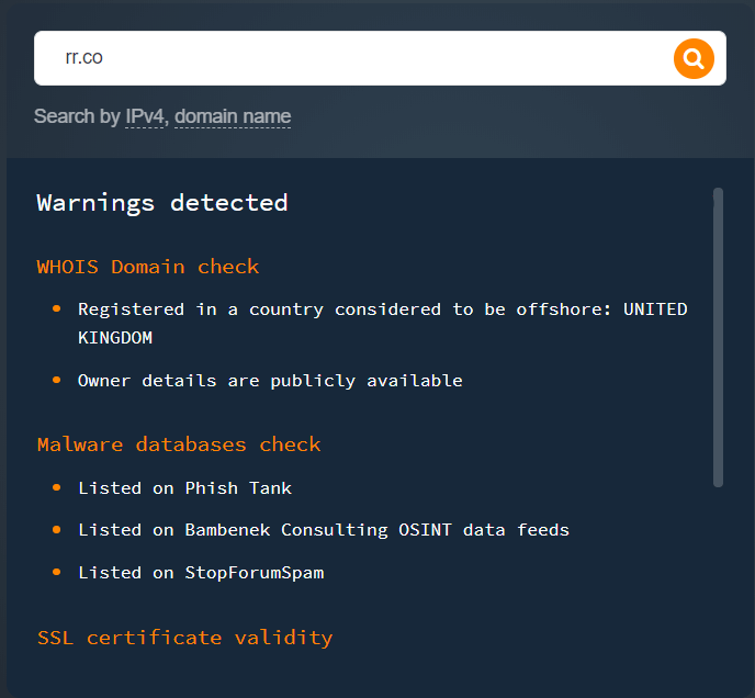 """rr[.]co: Categorized under """"Computer and Electronics"""" by the API."""