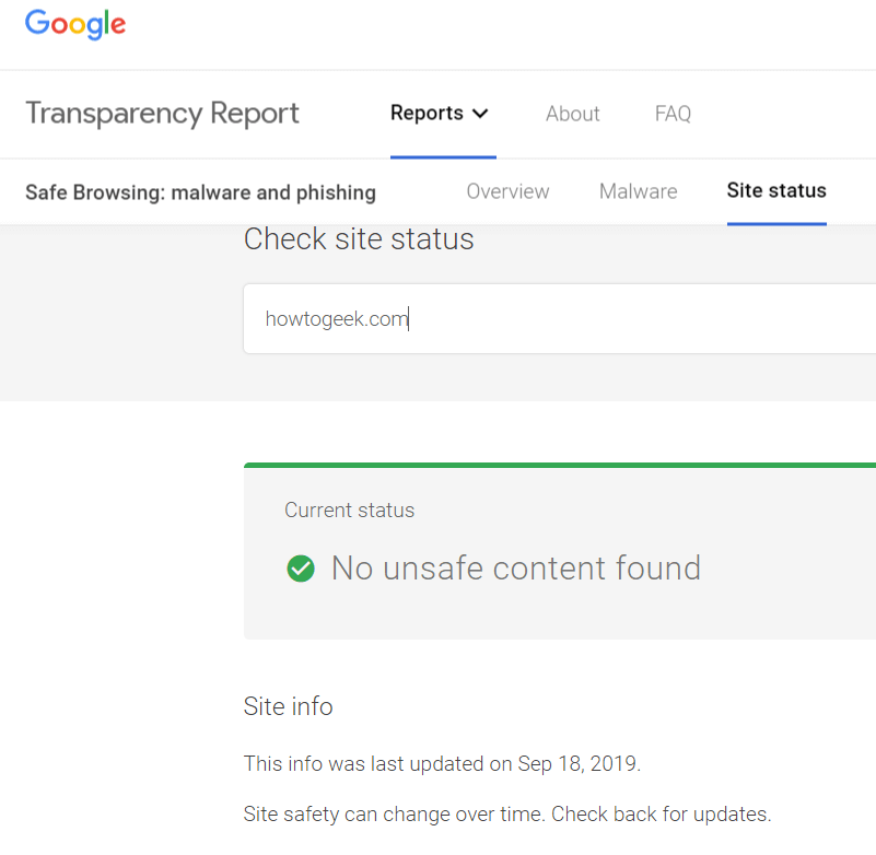 Google Safe Browsing Transparency Report